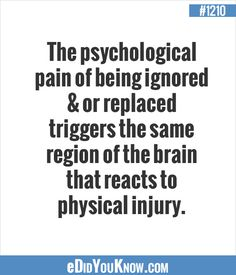 eDidYouKnow.com ►  The psychological pain of being ignored & or replaced triggers the same region of the brain that reacts to physical injury.