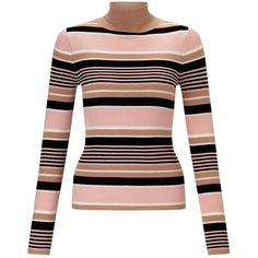 Miss Selfridge Stripe Knitted Rib Roll Neck (57 CAD) ❤ liked on Polyvore featuring tops, sweaters, camel, ribbed sweater, striped top, stripe sweater, striped sweater and stripe top