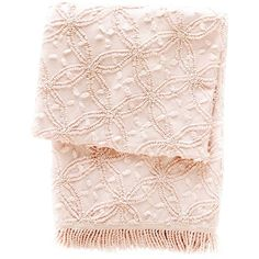 Pine Cone Hill Candlewick Pale Rose Throw Blanket ($139) ❤ liked on Polyvore featuring home, bed & bath, bedding, blankets, throw, accessories, blanket, decor, floral throw blanket and light pink throw