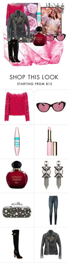 """""""Studs and Roses"""" by eclectic-ave82 ❤ liked on Polyvore featuring moda, Rika, H&M, Ted Baker, Maybelline, Clarins, Christian Dior, DANNIJO, Alexander McQueen ve BLK DNM"""