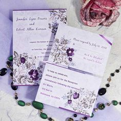 romantic purple floral printable wedding invitation cards cheap EWI063 as low as $0.94