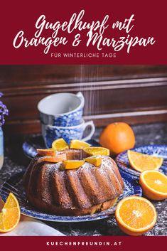 Dieser saftige Kuchen schmeckt intensiv nach Orangen. Er wird nach dem Backen zusätzlich mit einer Orangensauce übergossen. Marzipan, Muffin, Sweets, Hallo Winter, Breakfast, Foodblogger, Post, Vegetarian Recipes, Ring Cake