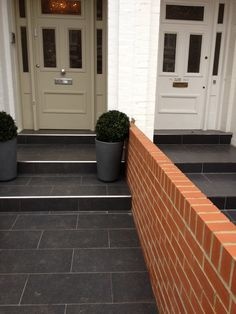 Chrome looks so much nicer Front Path, Front Door Steps, Best Front Doors, Front Walkway, Brick Pathway, Victorian Front Garden, Victorian Homes, Victorian Terrace, Porch Tile