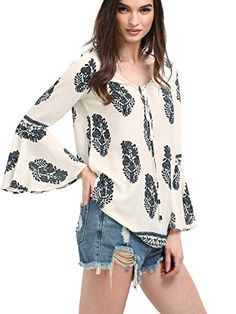 SheIn Women's Print Blouse With Long Bell Sleeve - Beige Large