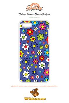 A Flower Power on Purple phone case available for all phone makes and models and can be personalised and purchased from www.mrnutcase.com