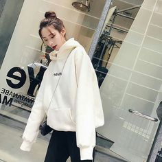 Darcydebie New Fashion Corduroy Long sleeves Letter Harajuku Print Girl Light pink Pullovers Tops O-neck Woman Hooded sweatshirt Korea Fashion, New Fashion, Coats For Women, Clothes For Women, Hooded Sweatshirts, Hoodies, White Hoodie, White Sweaters, White Nikes