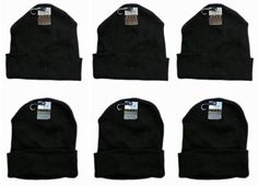 adult knit hats with cuff - black Case of 60