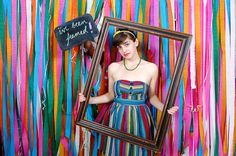 Photo Booth Rentals Colorful streamer backdrop frame props for any party! Photo via Photo Booth Rentals Colorful streamer backdrop frame props for any party! Photo via Diy Photo Booth Backdrop, Streamer Backdrop, Paper Streamers, Backdrop Frame, Diy Photobooth, Backdrop Ideas, Ribbon Backdrop, Booth Ideas, Cheap Backdrop