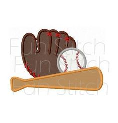 Baseball sports applique machine embroidery design by FunStitch