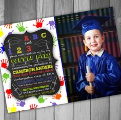 Graduation Announcement Graduation Photo Card Kindergarten Graduation Preschool Graduation School Graduation