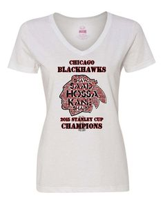 The Chicago Blackhawks are the 2015 Stanley Cup Champions! The t-shirt has all the team members last names in the design. Available in a ladies v-neck