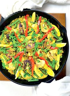 Vegan Paella Bowl from Vegan Bowls by Zsu Dever - easy to make and beautiful too!!