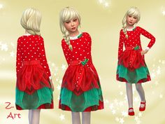The Sims Resource: For Xmas III dress by Zuckerschnute20 • Sims 4 Downloads