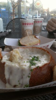 July Saturday: Clam Chowder in Sourdough bread bowls from Boudin, Fisherman Wharf. Piers 1 through 41 San Francisco, CA. Fisherman's Wharf San Francisco, Weekend In San Francisco, San Francisco Vacation, San Francisco Travel, San Francisco Pier 39, Clam Chowder Recipes, Bread Bowls, San Fransisco, Seafood Dinner