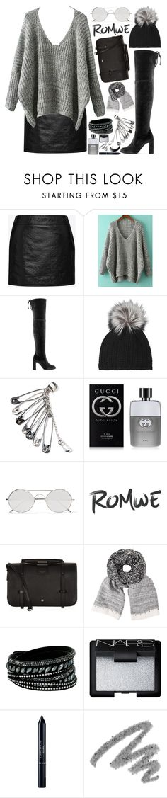 """Romwe Oversized Sweater!"" by nvoyce ❤ liked on Polyvore featuring Yves Saint Laurent, Inverni, Gucci, Linda Farrow, John Lewis, Swarovski, NARS Cosmetics, Christian Dior and Maybelline"