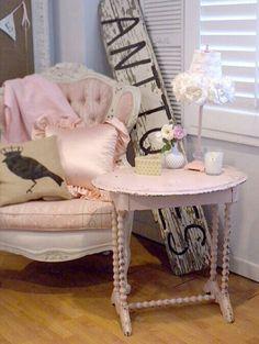 pastel pink chair display
