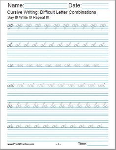 Cursive Handwriting Worksheet For op, ot, ve, wi, bs, or.