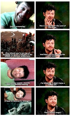 """Pete says: 'We want to shoot this, you know, very important, connected moment between you and Frodo. Right, okay, let's just do it. So get down on the carpet.' And this was in his house."" - Andy Serkis"