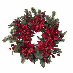 Poinsettia & Berry Wreath