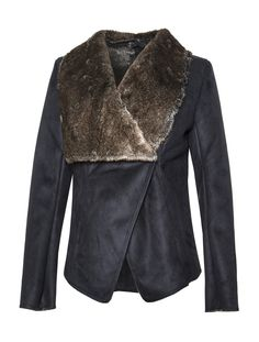 Scoop Long Sleeve Faux Shearling Drape Jacket - Dressing for winter need not be dull. Our shearling drape jacket is warm and plush, a stately addition to your cold weather wardrobe essentials. It's been fashioned with an elegant opening with hook and eye closure at the front and a luxurious shawl collar. Exclusively from Scoop NYC.