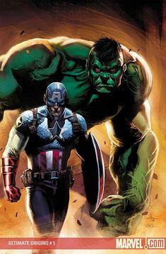 Ultimate Origins Cover: Captain America and Hulk Marvel Comics Poster - 30 x 46 cm Comic Book Characters, Comic Book Heroes, Marvel Characters, Comic Character, Comic Books Art, Comic Art, Book Art, Marvel Comics, Marvel Dc