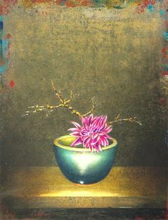 James Waterman | Dahlia and Lichen Branch in Asian Bowl , 2010