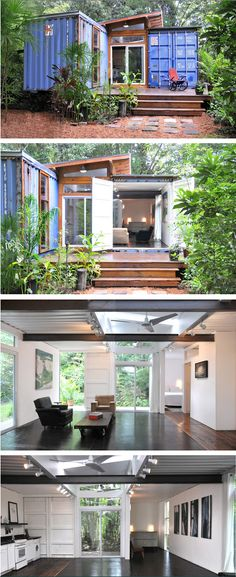 A container home. Don't let unassuming look of the exterior fool you, this is one beautiful modern house. #tinyhouseswoon