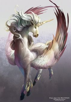 The Art of Po-Wen The Surrealism of Fantasy -blend pegasus and unicorn myths Unicorn And Fairies, Unicorn Fantasy, Unicorn Horse, Unicorn Art, Magical Unicorn, Art Steampunk, The Last Unicorn, Unicorn With Wings, Unicorn Tattoos