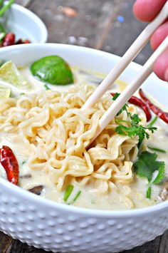 Japanese and Thai fusion, this vegan Tom Kha Gai is made into a ramen soup! Super quick, super delicious made with a perfect lemongrass and coconut broth!