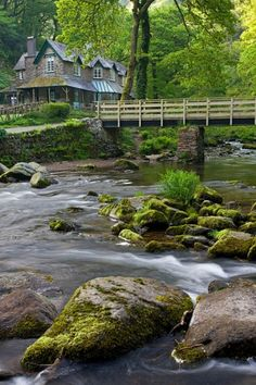 Watersmeet House, Devon, England. Watersmeet House is a former fishing lodge located in Lynmouth, Devon, England, and used today as an information center, tea room, and shop by the National Trust, who have owned it since 1996. (V)