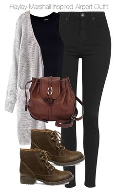 Hayley Marshall Inspired Airport Outfit by staystronng on Polyvore featuring T By Alexander Wang, Topshop, Steve Madden, Brighton, to, travel and hayleymarshall