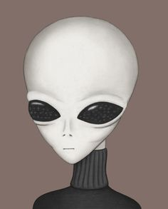 "Gray type alien seen by ""Kathie Davis,"" based on her famous drawing from Budd Hopkins' 1987 book Intruders, which established the theme of ""hybridization"" as important in the UFO abduction phenomenon."