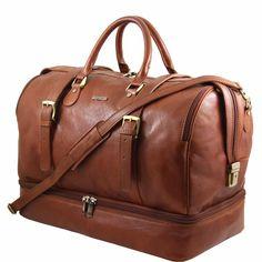 Grand sac de voyage cuir TL Travel avec double fond