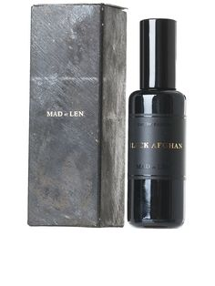 Mad Et Len unisex fragrance featuring hints of leather, tar, balsamic, and wood. Black Packaging, Packaging Ideas, Retail Packaging, Packaging Design, Perfume Packaging, Cosmetic Packaging, Black Afghan, Black Perfume, Japanese Packaging