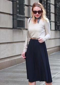 Office Style in navy midi skirt, rose gold belt and v-neck sweater