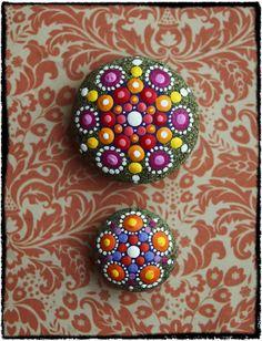 Jewel Drop Mandala Painted Stone Summer Lovin by ElspethMcLean, $22.00