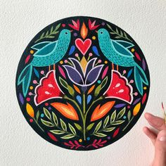 painting birds & flowers can be so relaxing.especially when its raining outs Folk Art Flowers, Flower Art, Art And Illustration, Scandinavian Folk Art, Truck Art, Madhubani Painting, Mexican Art, Pottery Painting, Indian Art