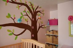 Paint tree on the wall and add birdhouses and numbers to measure height