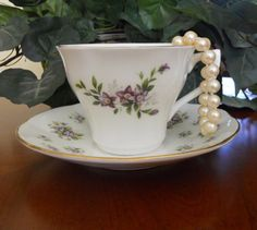 Queens Fine Bone China Tea Cup and Saucer by mamiezvintage, $22.00