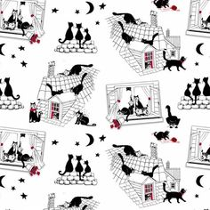 Cats Night Out - Nutex Patchwork Quilting Fabric by MarilynsPatchwork on Etsy https://www.etsy.com/uk/listing/591613087/cats-night-out-nutex-patchwork-quilting