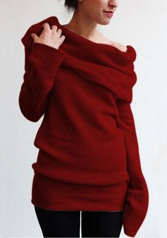 9aee16956d Burgundy Plain Turn-Down Collar Boat Neck Plus Size Loose Knit Pullover  Sweater