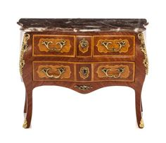 * A Louis XV Style Gilt Metal Mounted Commode, Height 2 7/8 x width 4 x dep
