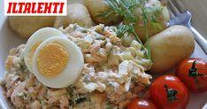 Savulohi sopii täydellisesti yhteen varhaisperunoiden kanssa. Cobb Salad, Potato Salad, Food And Drink, Rice, Cooking Recipes, Breakfast, Ethnic Recipes, Koti, Party