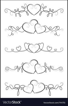 Elegant valentine design vector image on VectorStock Hand Embroidery Patterns Flowers, Ribbon Embroidery Tutorial, Body Art Tattoos, Tribal Tattoos, Wedding Finger Tattoos, Heart Coloring Pages, Valentines Design, Triquetra, Art Clipart