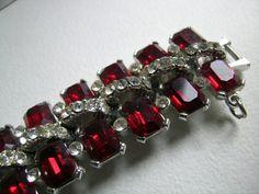 La Rel rhinestone bracelet of ruby and white stones   by art4u2buy, $79.00