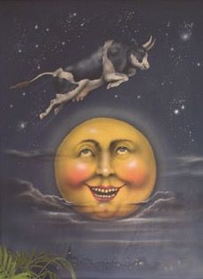 AND THE COW JUMPED OVER THE MOON .  GUTE NACHT , SCHOENE TRAEUME .