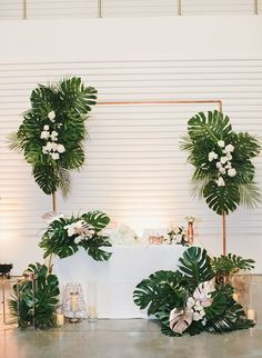 wedding backdrop Modern Tropical Wedding - Inspired By This Tropical Wedding Decor, Tropical Party, Tropical Decor, Tropical Colors, Tropical Weddings, Tropical Interior, Tropical Wedding Bouquets, Peach Weddings, Wedding Table Centerpieces