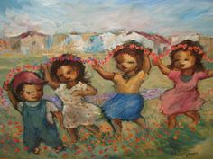 Children Carrying Garland by Amos Langdown -Photolithography Re-production Coretta Scott King, South African Artists, Types Of Art, Online Art Gallery, Back Home, Paper Art, Street Art, Sketches, Wall Art