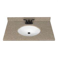 37-in x 22-in Nutmeg Nutmeg Solid Surface Integral Bathroom Vanity Top