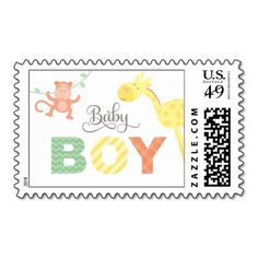 Baby Shower Postage | Jungle Animals for Boy! Make your own stamps more personal to celebrate the arrival of a new baby. Just add your photos and words to this great design.